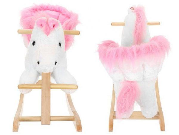 Hojdací kôň - kolískový - 70 cm - bielo-ružový